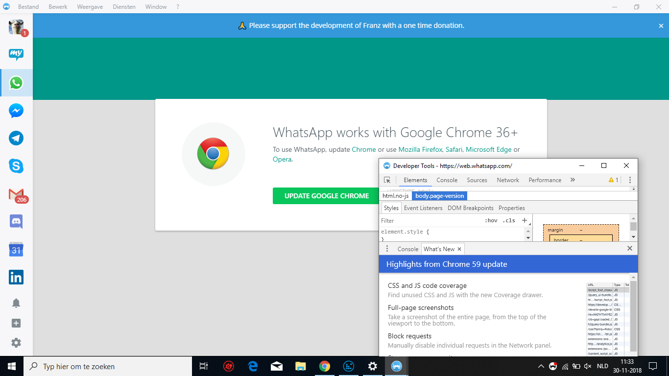 Whatapp will not start, claims Chrome Browser 36+ is