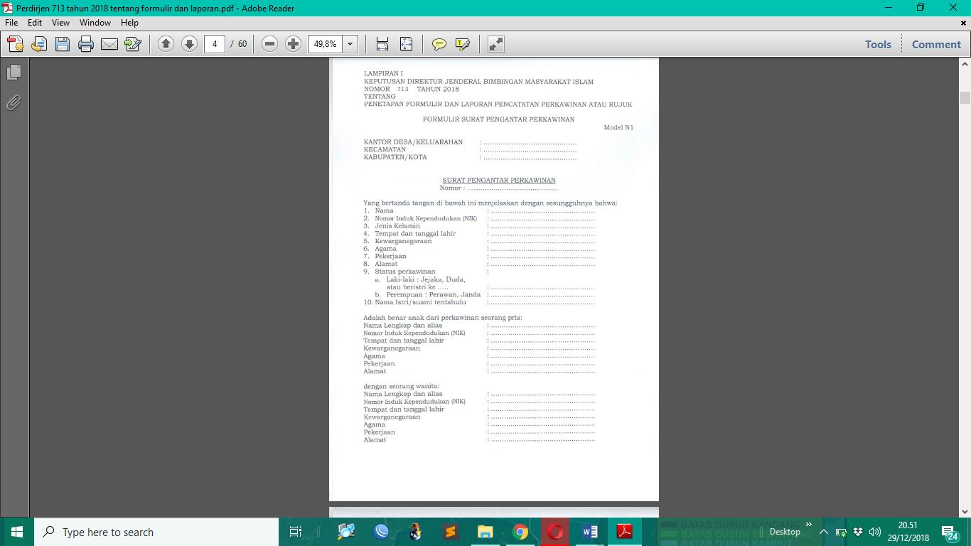 Surat Keterangan Untuk Nikah N 1 Sd N 7 Perlu Disesuaikan