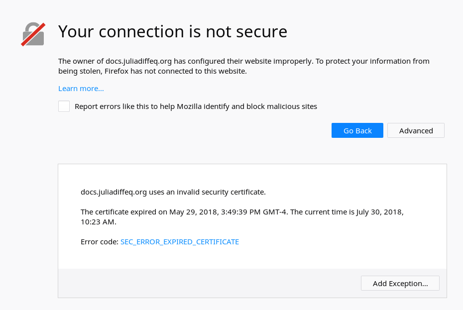 Certificate For Docsjuliadiffeq Expired Issue 324