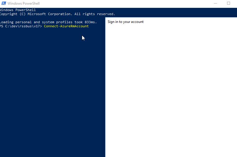 Connect-AzureRMAccount opens blank sign-in window · Issue