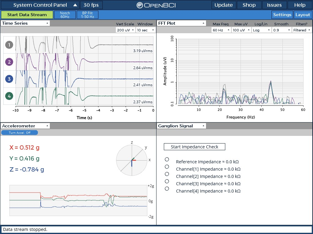 Sync horizontal scale of Time Series and Accelerometer