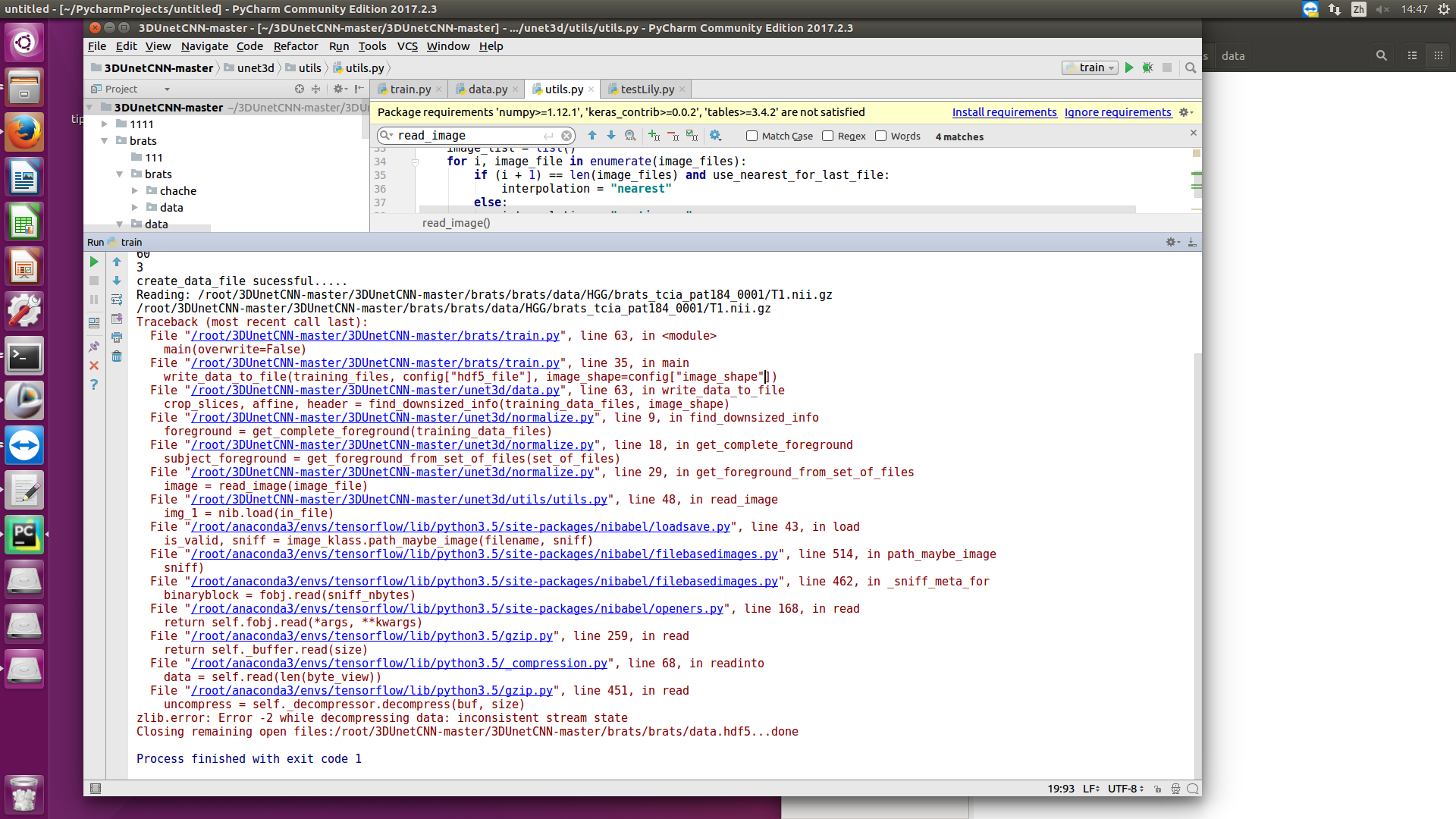 zlib error: Error -2 while decompressing data: inconsistent