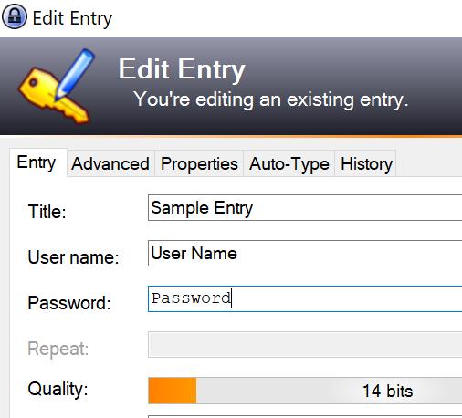 The password in KeePass
