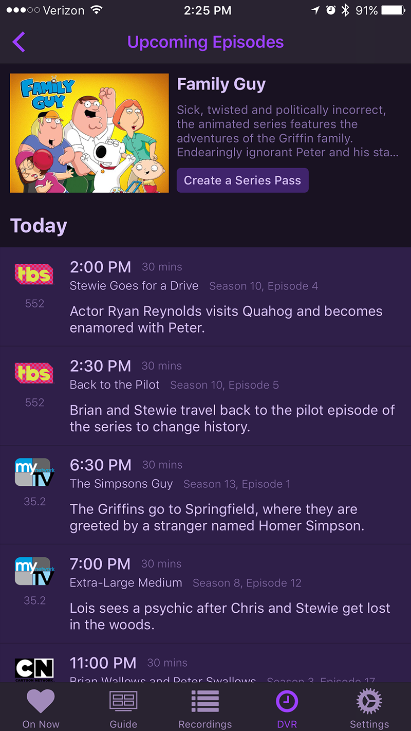 channels dvr ios iphone upcoming episodes