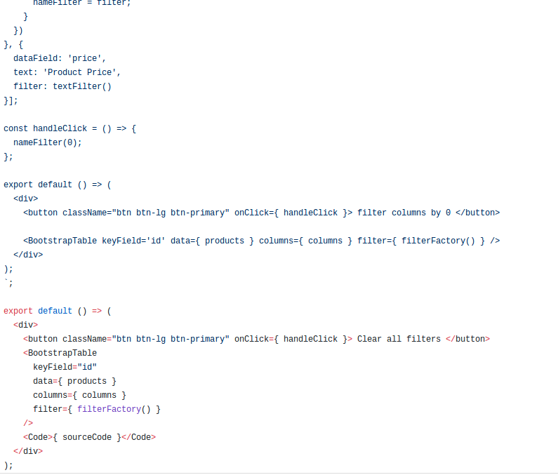Wrong code in example for Clear All filters storybook · Issue #491