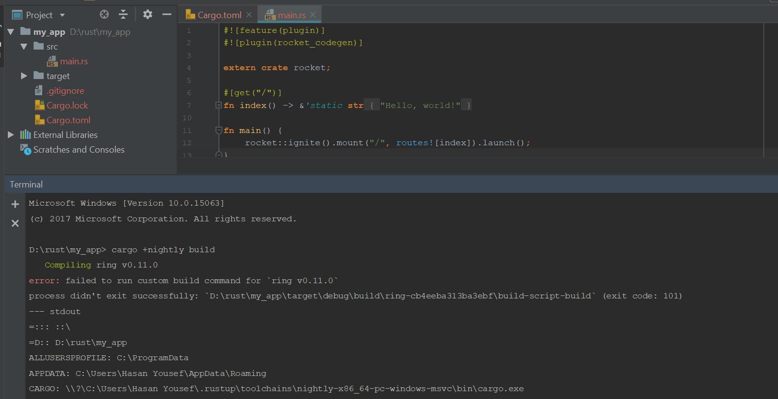 failed to run custom build command for `ring v0 11 0