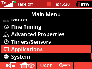 install - 12 - choose application menu on transmitter