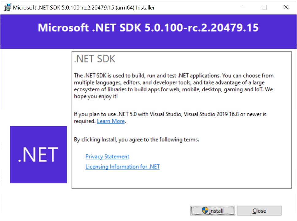.NET 5.0 SDK Arm64 Installer