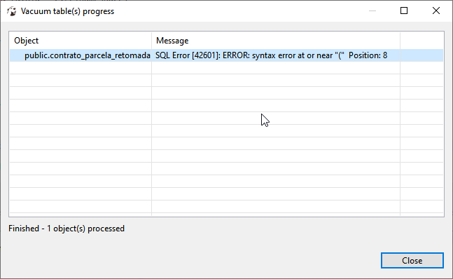 postgres] in 6 1 4 sometimes drop statements fail on