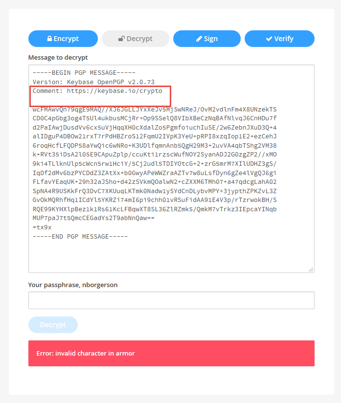 Bug decrypting PGP messages in web app · Issue #8640