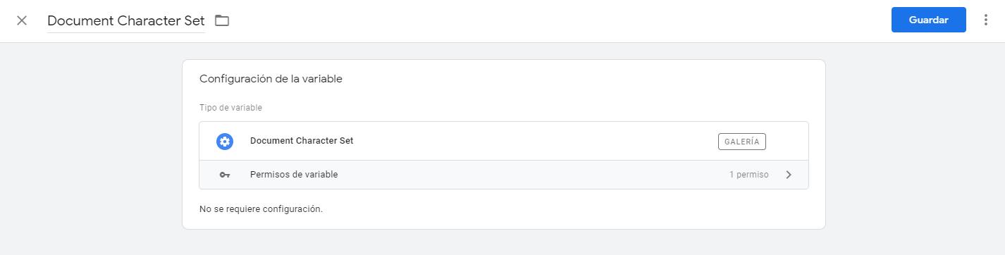 Configuración plantilla de variable Document Character Set