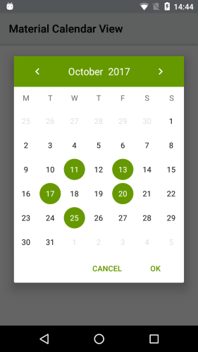 Material Design Calendar Github : Github applandeo material calendar view