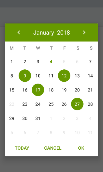 A simple and customizable calendar widget for Android based