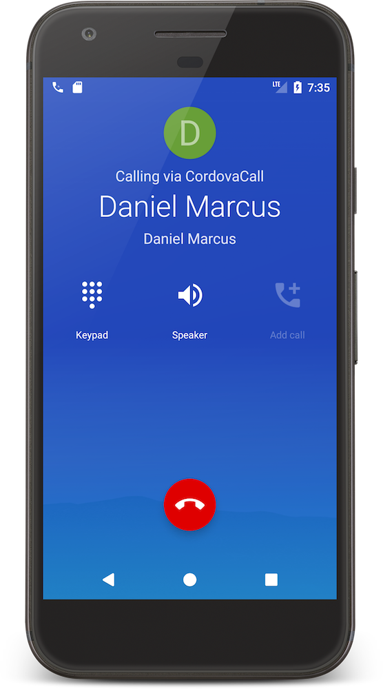 CordovaCall Send Call Android ConnectionService