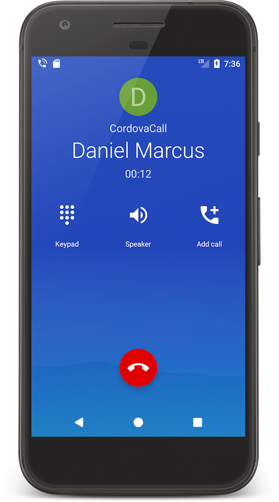 CordovaCall Connect Call Android ConnectionService