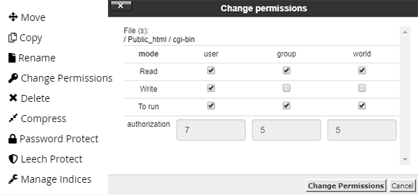 Change file permission - improve WordPress security
