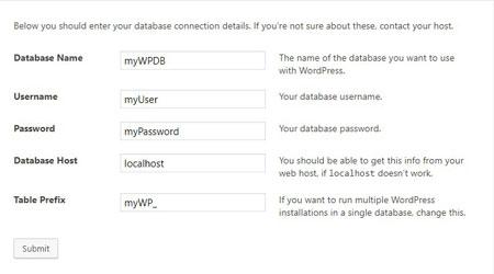 WordPress setting up database information on setup page