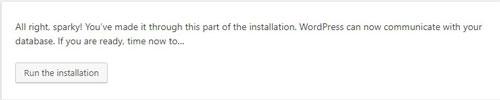 run the installation of WordPress setup
