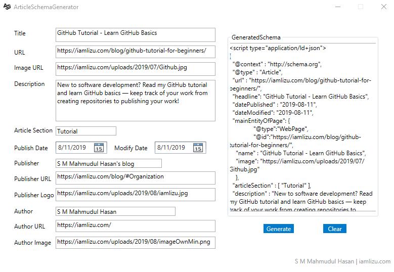 Generated Schema using Article Schema Generator