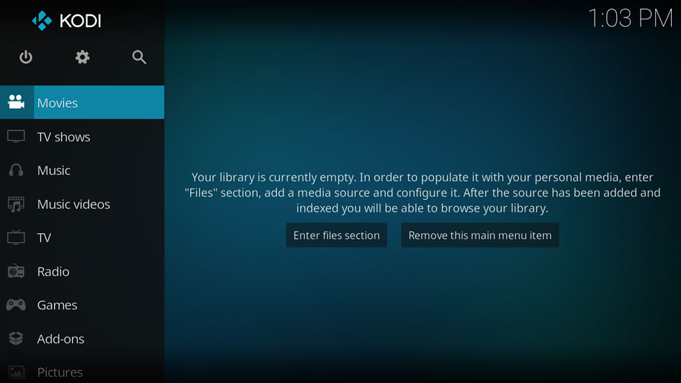 Media Server using Raspberry Pi — kodi home screen