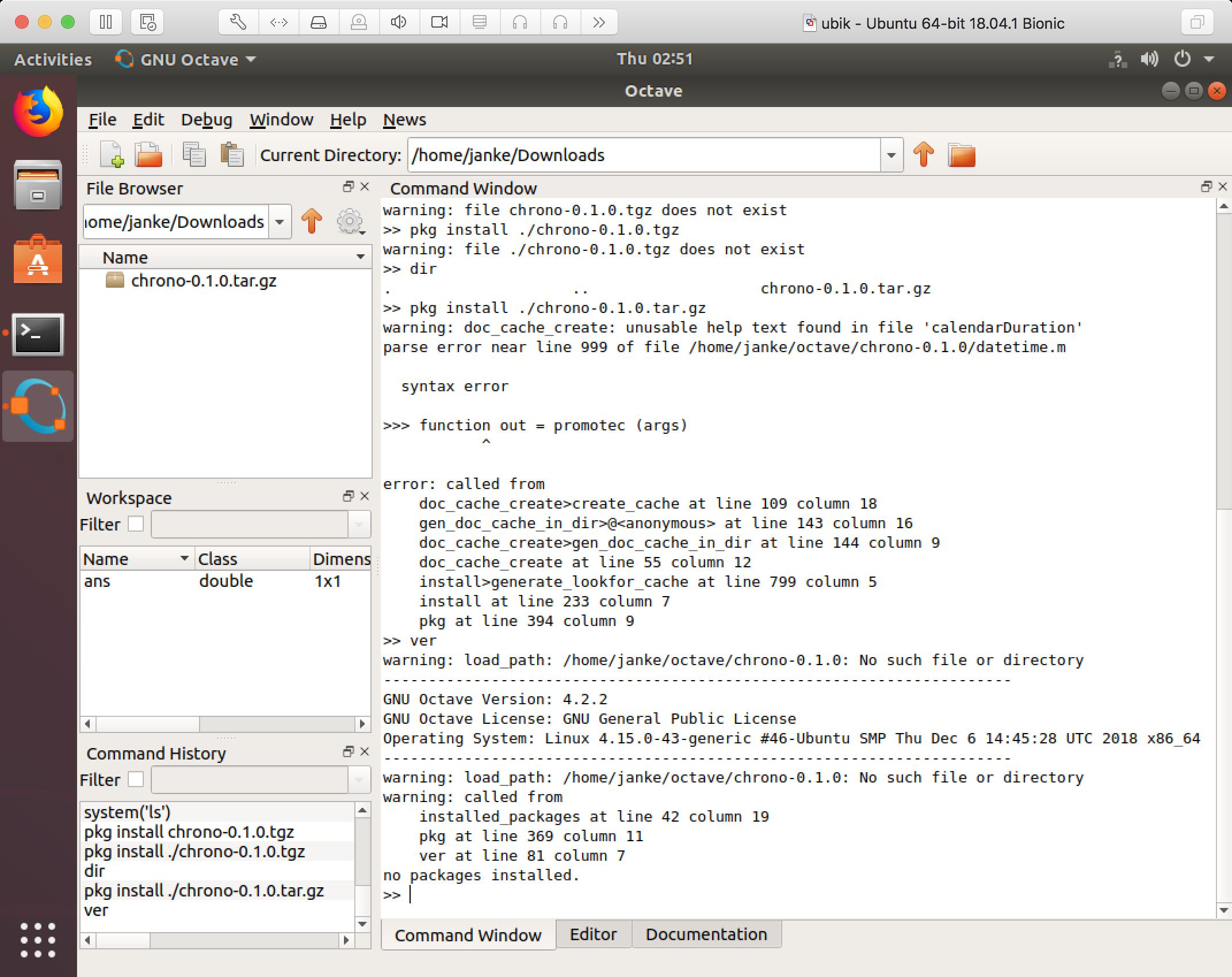 Busted on Octave 4 2 2 on Ubuntu Bionic and 4 0 0 on Ubuntu