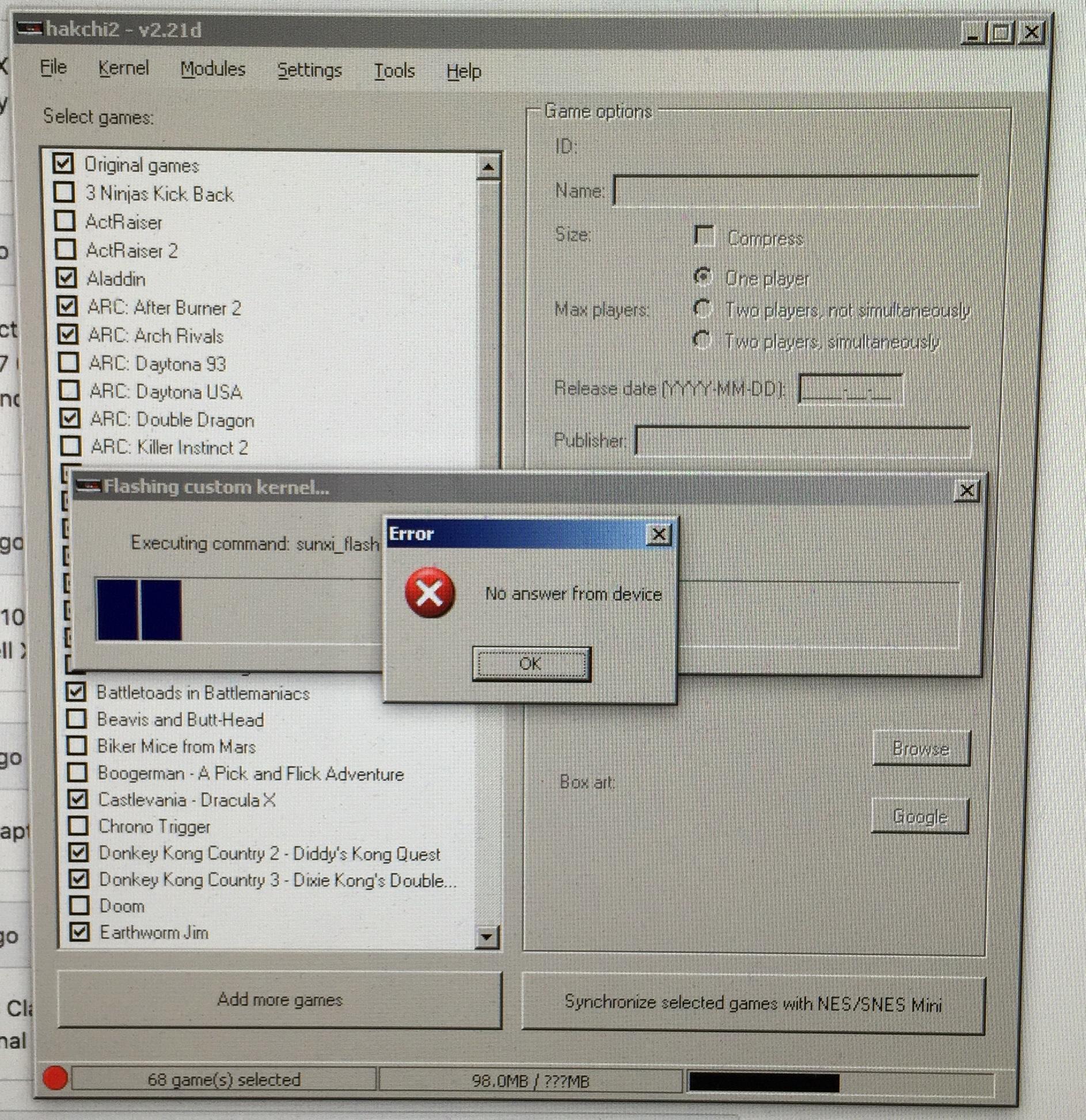 Not detecting SNES Classic · Issue #584 · ClusterM/hakchi2