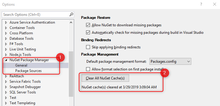Package update not found when updating via Visual Studio Solution
