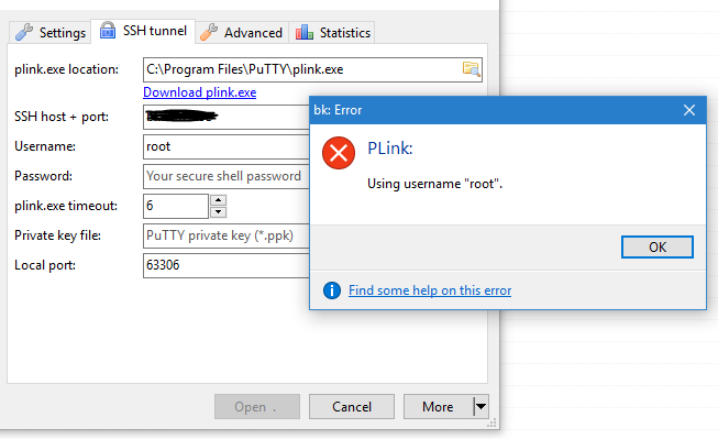 SSH tunnel shows dialog with Plink output before connecting