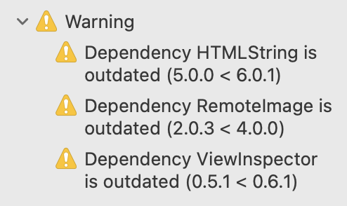 Xcode warnings screenshot