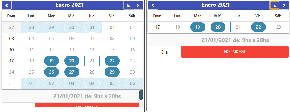 Calendar in month and week view