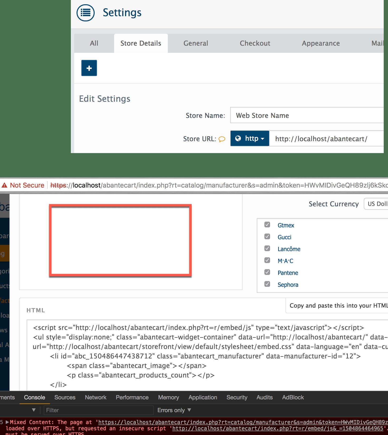 embed code not working fresh install issue 968 abantecart rh github com