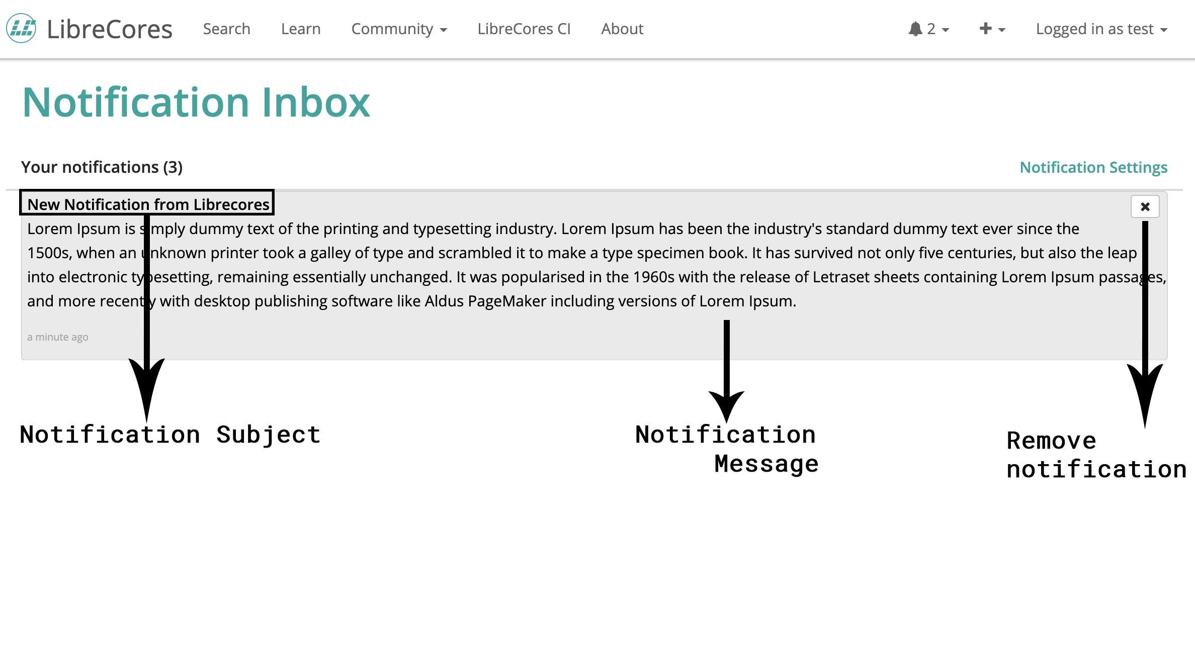 Notification Inbox