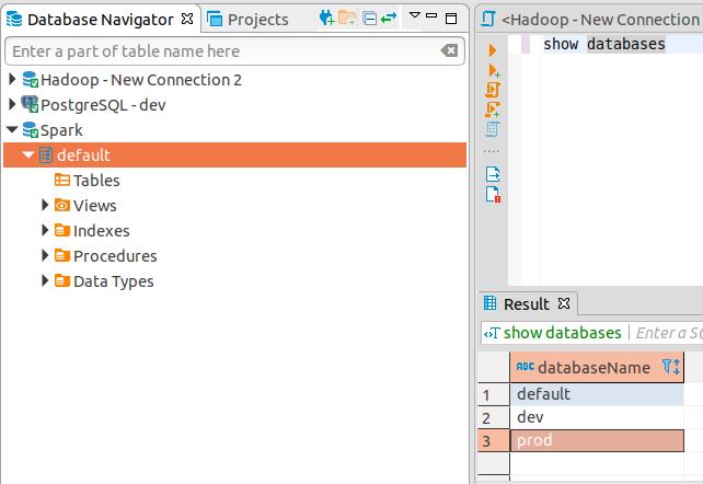 hadoop spark displays only default database · Issue #4680