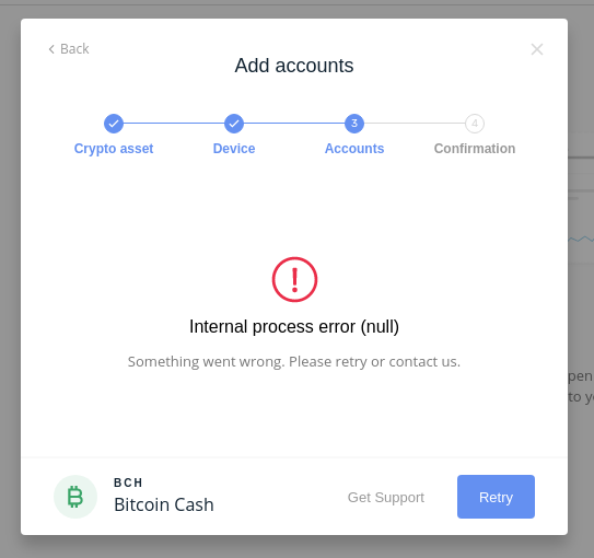 Can't add BTC/BCH/DASH (something wen't wrong during synchronization