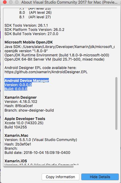 Branch information is missing in VSM · Issue #4990 · xamarin/xamarin