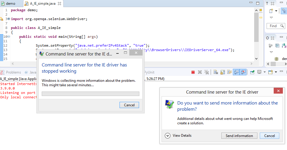 Selenium Java Client (v3 9 1) with IEDriverServer v3 9 0 0