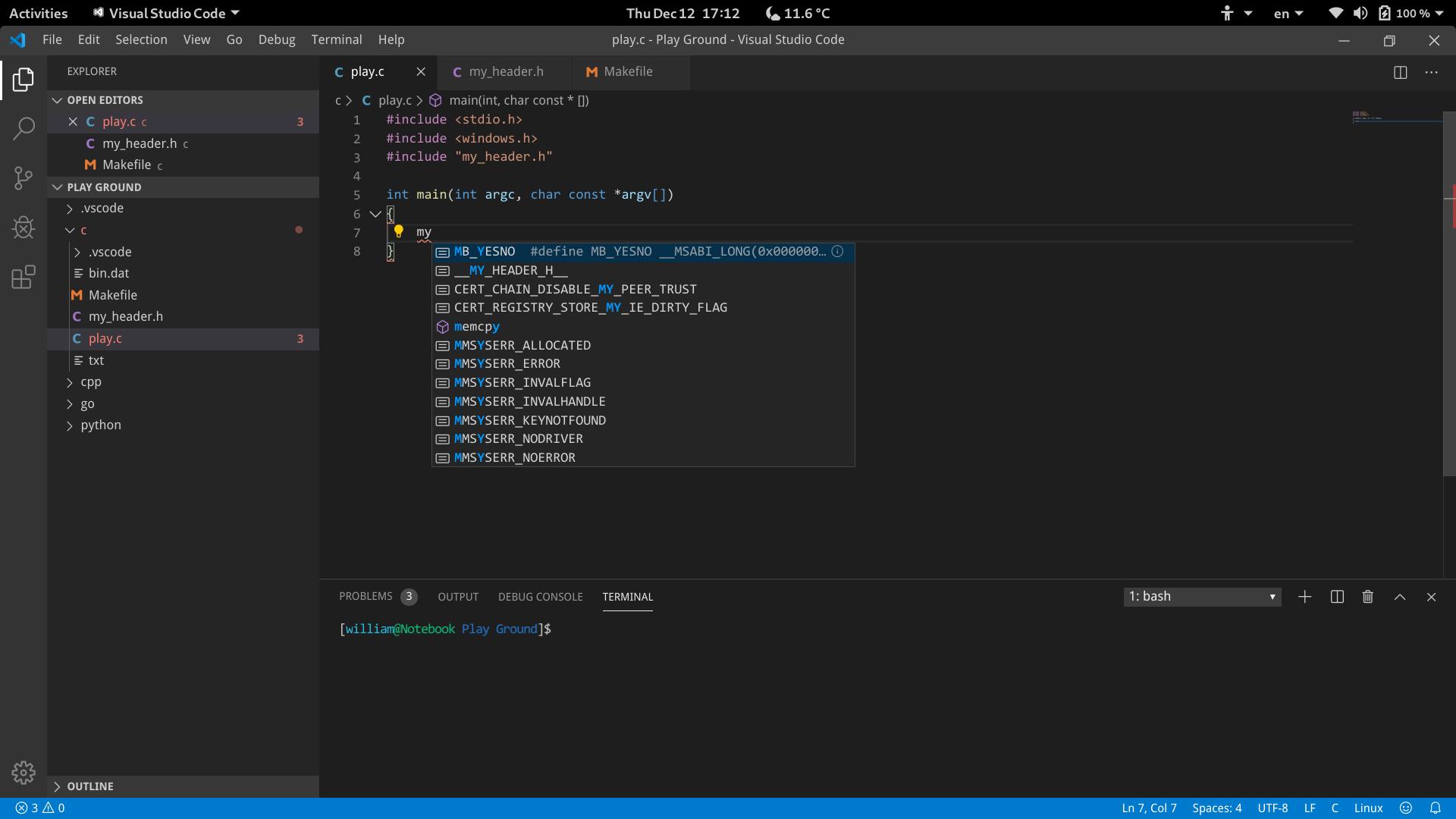 Mingw64 Headers Breaks Intellisense Under Linux Issue 4735 Microsoft Vscode Cpptools Github