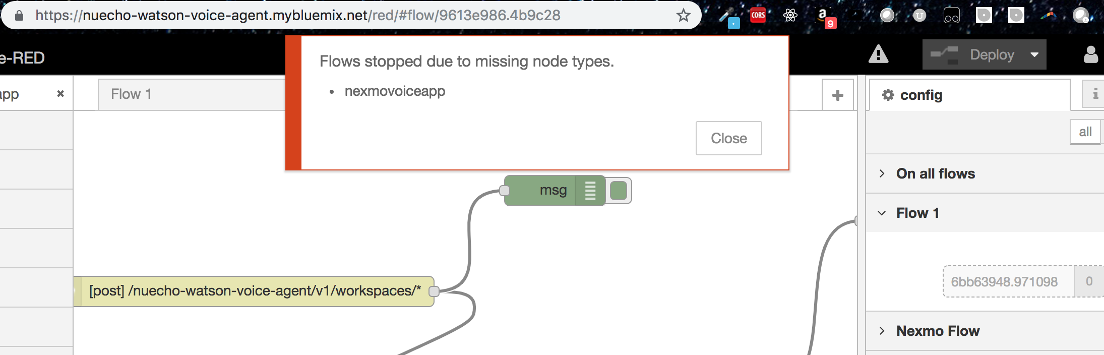 After Installing Nexmo node-red module  Flows fail to deploy