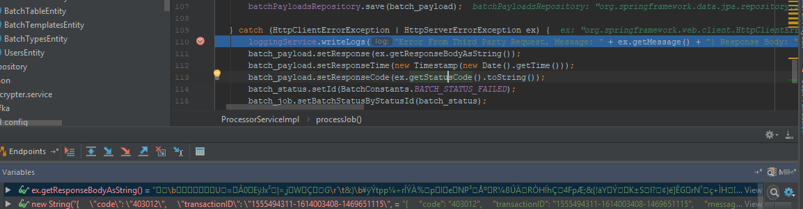 HttpClientErrorException getResponseBodyAsString() returning byte