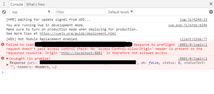 No 'Access-Control-Allow-Origin' header is present on the