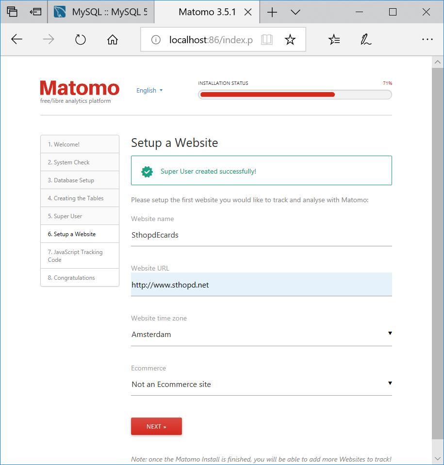 20181001 matomo live - set up first website