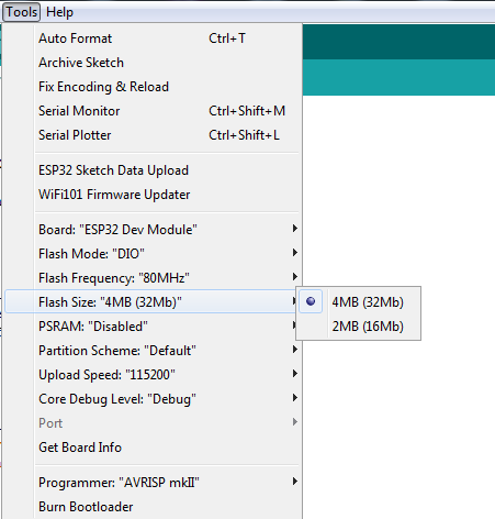 Arduino IDE can't configure flash size 16M of ESP32-WROOM