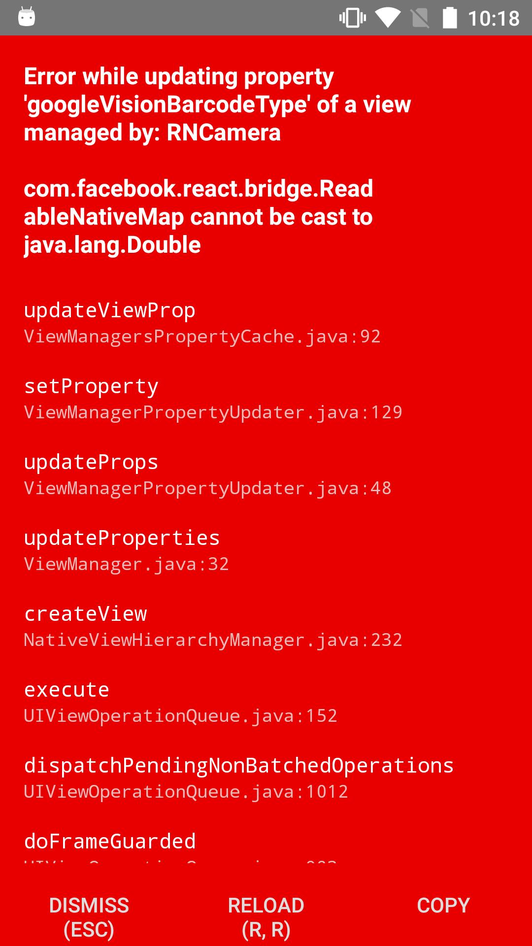 Android error with googleVisionBarcodeType defaultProp