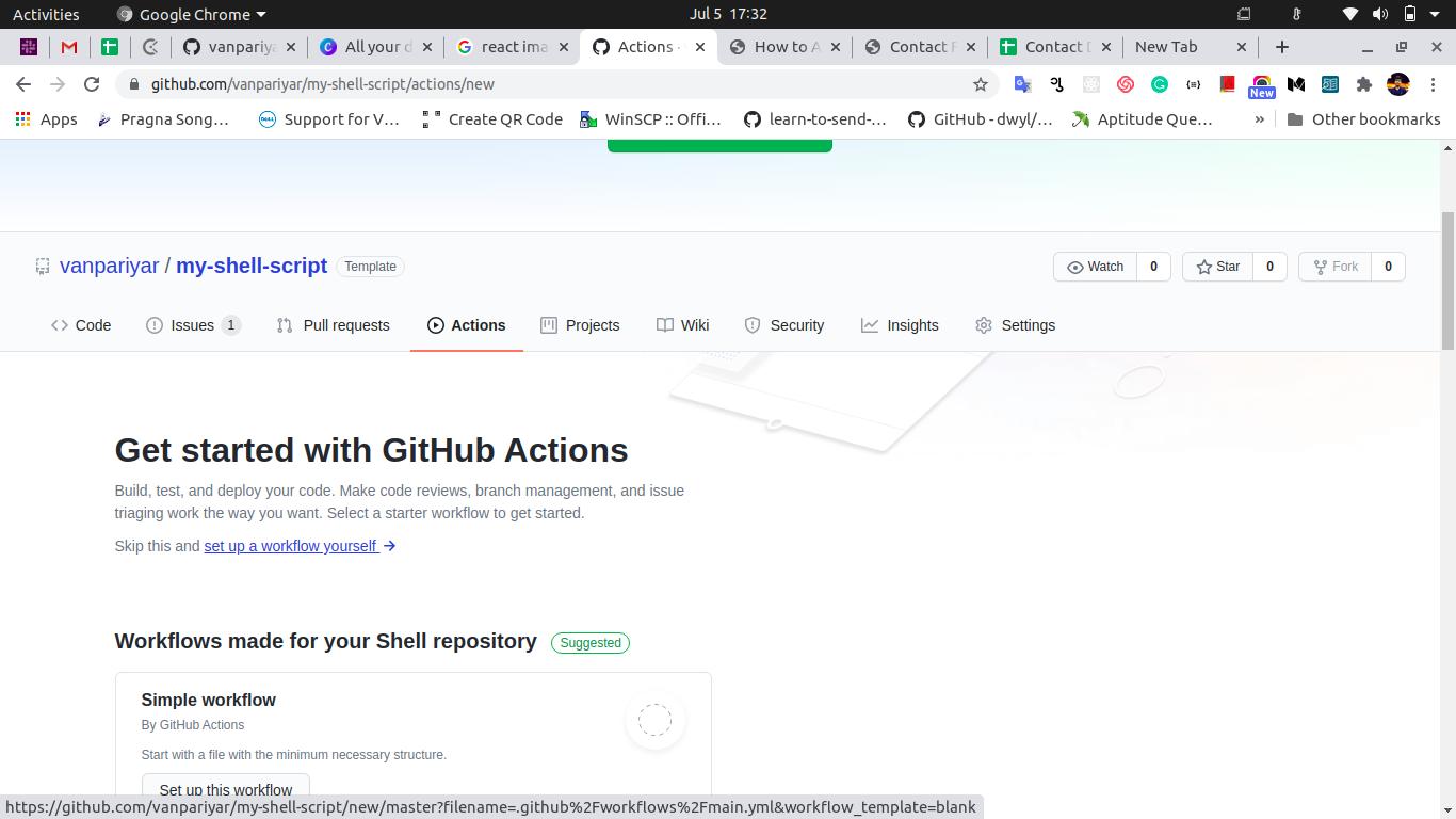 setup new workflow in github