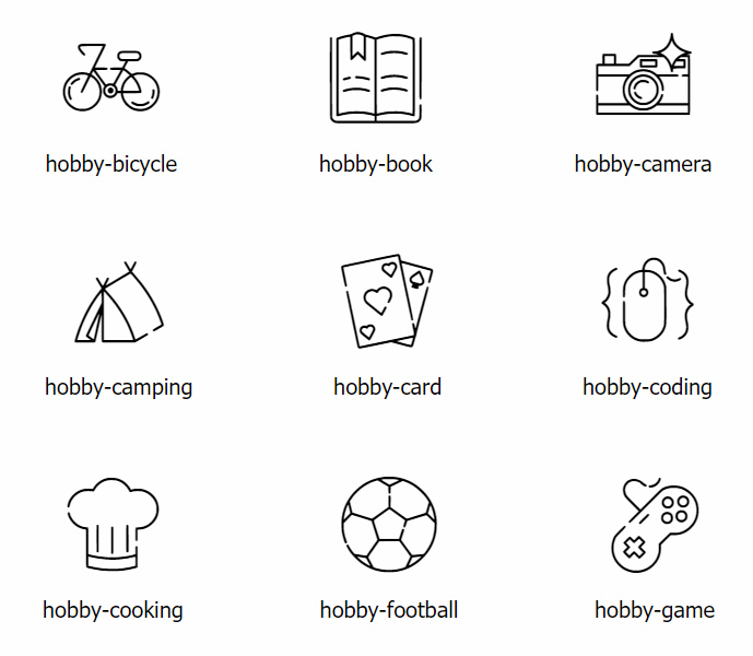 Github Nutanek Hobby Icon Icon Fonts About Hobbies