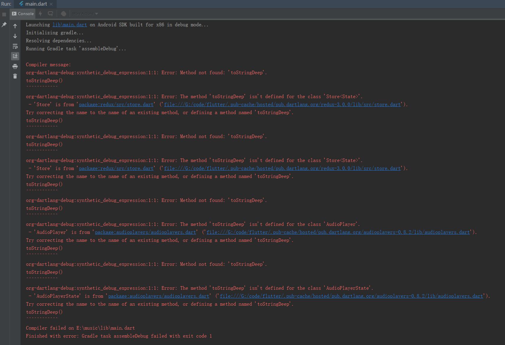 Method not found: 'toStringDeep' · Issue #30267 · flutter