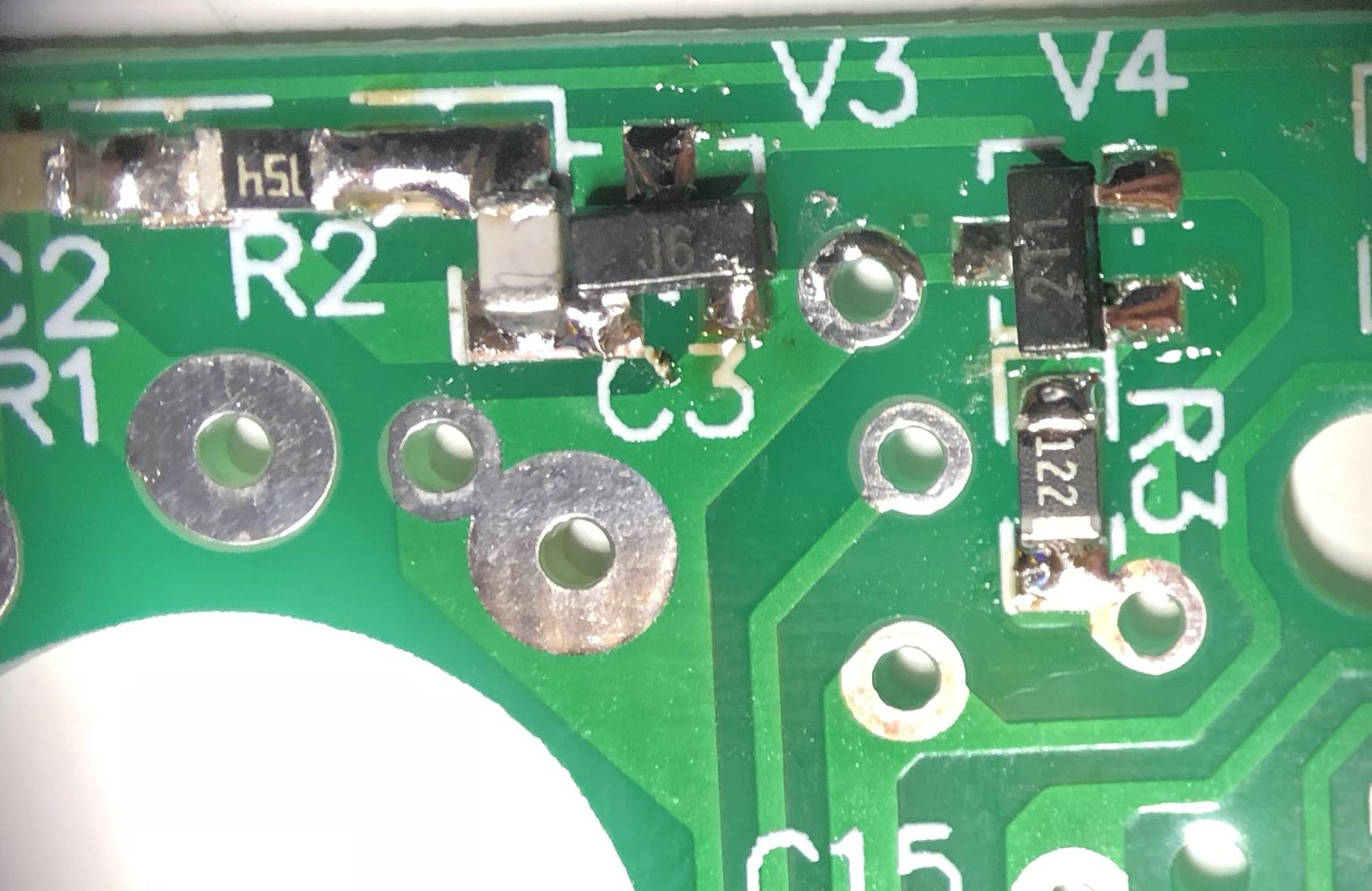 Transistors soldered