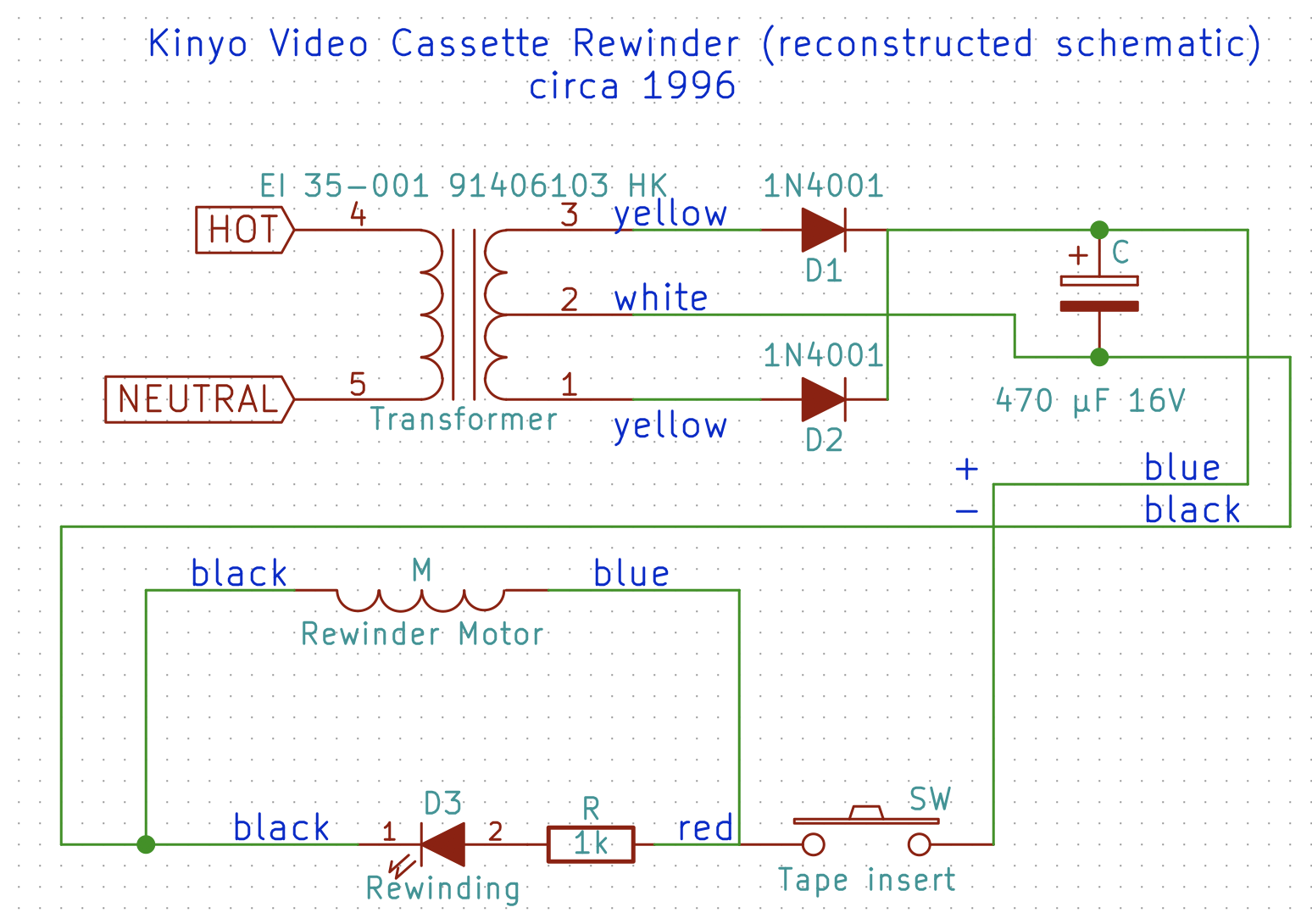 A Blast From The Past Kinyo 1 Way Vhs Rewinder Uv 428 Teardown Blog Uvw Electric Motor Wiring Diagram Schematic