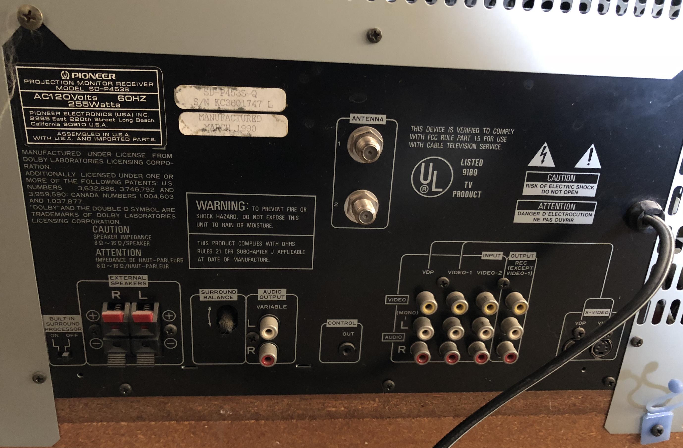 Pioneer Sd P453s Rear Projection Rptv Teardown Inside