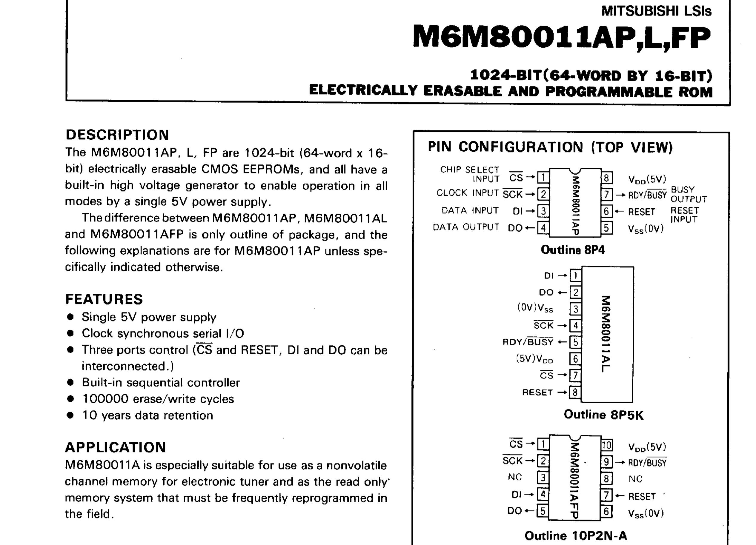 M6M80011AP data sheet page 1